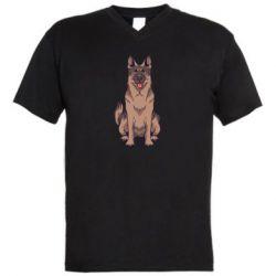 Мужская футболка  с V-образным вырезом Красивая овчарка