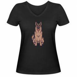 Женская футболка с V-образным вырезом Красивая овчарка