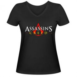 Женская футболка с V-образным вырезом Кредо убийцы - FatLine