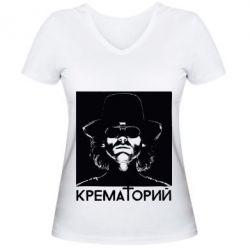 Женская футболка с V-образным вырезом Крематорий Летов