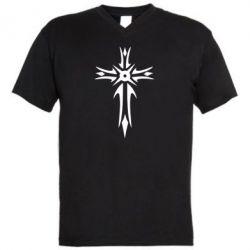 Мужская футболка  с V-образным вырезом Крест 2 - FatLine
