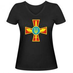 Женская футболка с V-образным вырезом Крест з мечем та гербом - FatLine