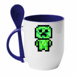 Кружка з керамічною ложкою Кріпер піксель арт