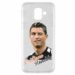 Купить Реал Мадрид (Real Madrid), Чехол для Samsung A6 2018 Криштиану Роналду, полигональный портрет, FatLine