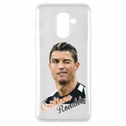 Купить Реал Мадрид (Real Madrid), Чехол для Samsung A6+ 2018 Криштиану Роналду, полигональный портрет, FatLine