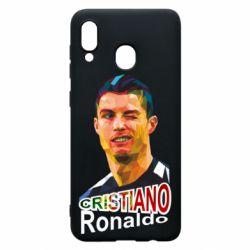 Чохол для Samsung A20 Крістіано Роналдо, полігональний портрет