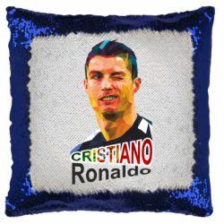 Подушка-хамелеон Крістіано Роналдо, полігональний портрет