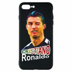 Чохол для iPhone 8 Plus Крістіано Роналдо, полігональний портрет