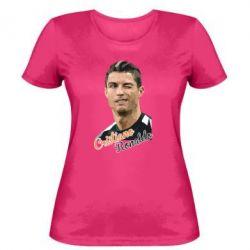 Женская футболка Криштиану Роналду, полигональный портрет