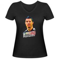 Женская футболка с V-образным вырезом Криштиану Роналду, полигональный портрет - FatLine