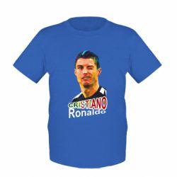 Детская футболка Криштиану Роналду, полигональный портрет - FatLine