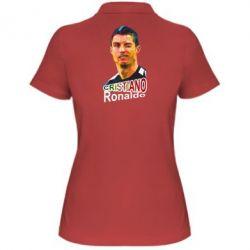 Женская футболка поло Криштиану Роналду, полигональный портрет - FatLine
