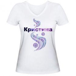 Женская футболка с V-образным вырезом Кристина