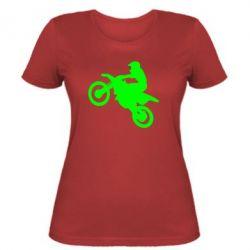 Женская футболка Кроссовый мотоцикл
