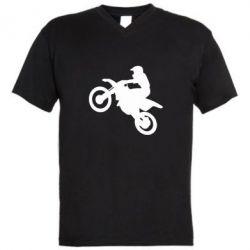 Мужская футболка  с V-образным вырезом Кроссовый мотоцикл
