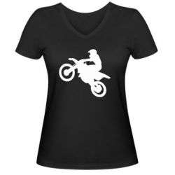 Женская футболка с V-образным вырезом Кроссовый мотоцикл - FatLine
