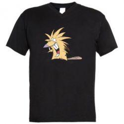 Мужская футболка  с V-образным вырезом Крутые бобры - FatLine