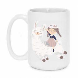 Кружка 420ml Girl with a lama