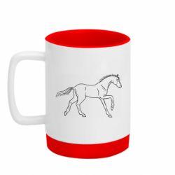 Кружка кольорова з силіконовим дном 320ml Beautiful horse