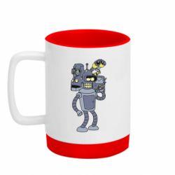 Кружка кольорова з силіконовим дном 320ml Bender and the heads of robots