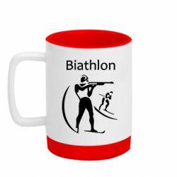 Кружка кольорова з силіконовим дном 320ml Biathlon