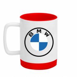 Кружка кольорова з силіконовим дном 320ml BMW logotype 2020