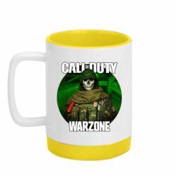 Кружка кольорова з силіконовим дном 320ml Call of duty Warzone ghost green background