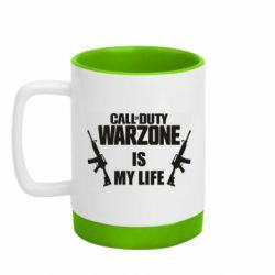 Кружка кольорова з силіконовим дном 320ml Call of duty warzone is my life M4A1