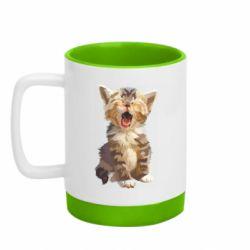 Кружка кольорова з силіконовим дном 320ml Cute kitten vector