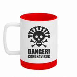 Кружка кольорова з силіконовим дном 320ml Danger coronavirus!