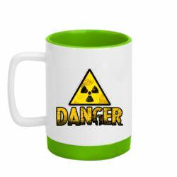 Кружка кольорова з силіконовим дном 320ml Danger icon