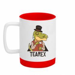 Кружка кольорова з силіконовим дном 320ml Dinosaur with tea