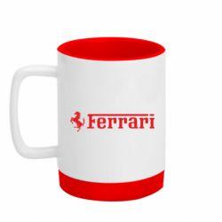 Кружка кольорова з силіконовим дном 320ml Ferrari