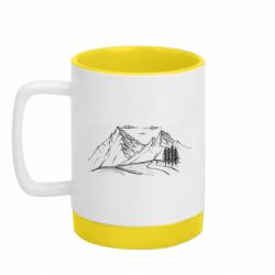 Кружка кольорова з силіконовим дном 320ml горы природа