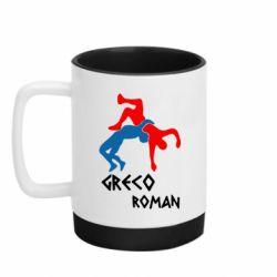 Кружка кольорова з силіконовим дном 320ml Греко-римська боротьба