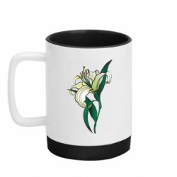 Кружка кольорова з силіконовим дном 320ml Lily flower