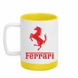 Кружка кольорова з силіконовим дном 320ml логотип Ferrari