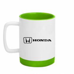 Кружка кольорова з силіконовим дном 320ml Логотип Honda
