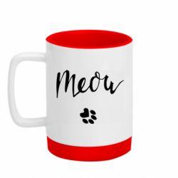 Кружка кольорова з силіконовим дном 320ml Meow and the trail of a cat