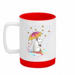Кружка кольорова з силіконовим дном 320ml Mouse and rain