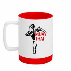 Кружка кольорова з силіконовим дном 320ml Muay Thai kick