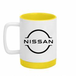 Кружка кольорова з силіконовим дном 320ml Nissan new logo