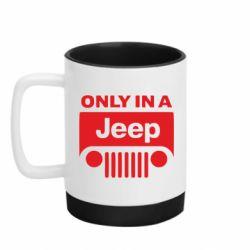 Кружка кольорова з силіконовим дном 320ml Only in a Jeep