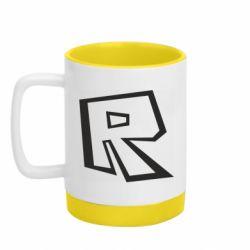 Кружка кольорова з силіконовим дном 320ml Roblox minimal logo