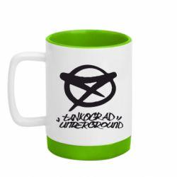 Кружка кольорова з силіконовим дном 320ml Tankograd Underground Logo