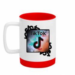 Кружка кольорова з силіконовим дном 320ml Tik Tok art
