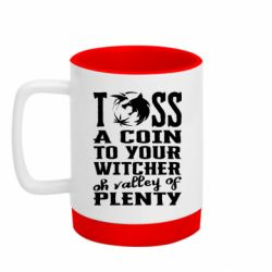 Кружка кольорова з силіконовим дном 320ml Toss a coin  to your  witcher  oh valley of  plenty