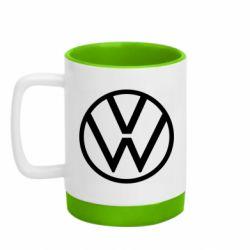 Кружка кольорова з силіконовим дном 320ml Volkswagen new logo