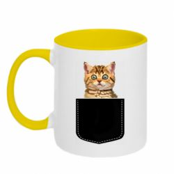 Кружка двухцветная 320ml Cat in your pocket