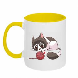 Кружка двоколірна 320ml Cat with a ball